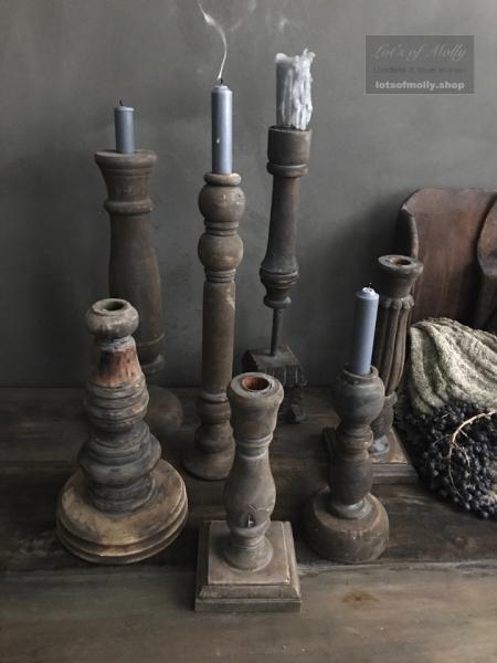 Beste Oud houten vergrijsde kandelaren uit India - Landelijk en Stoer Wonen JC-86
