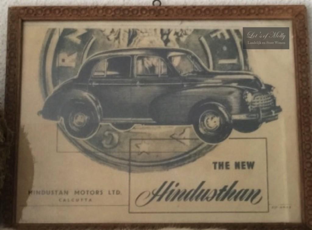 Mooie ingelijste vintage reclame voor de Hindustan 14 auto