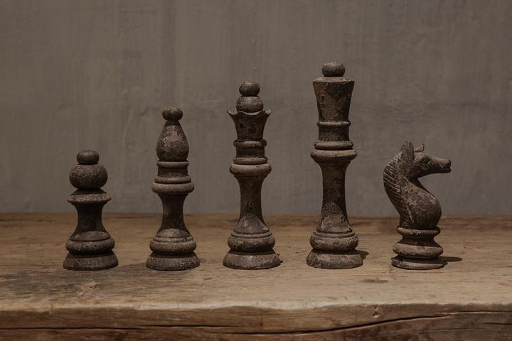 Decoratieve houten schaakspel set van 5 stukken