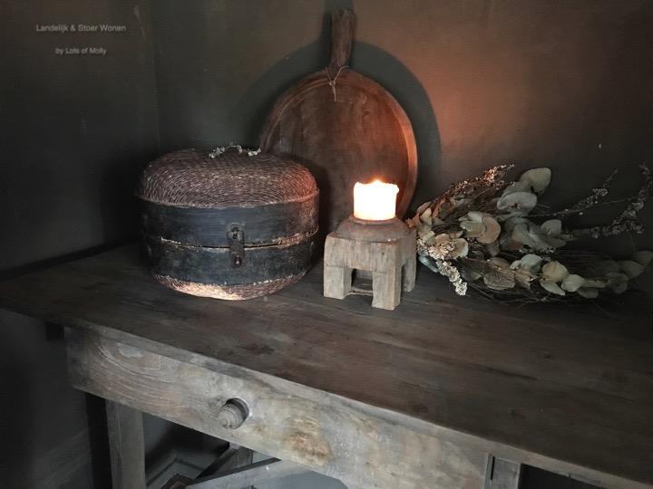 Tafel/bureau/muurtafeltje met een grote lade teakhout Aura Peeperkorn