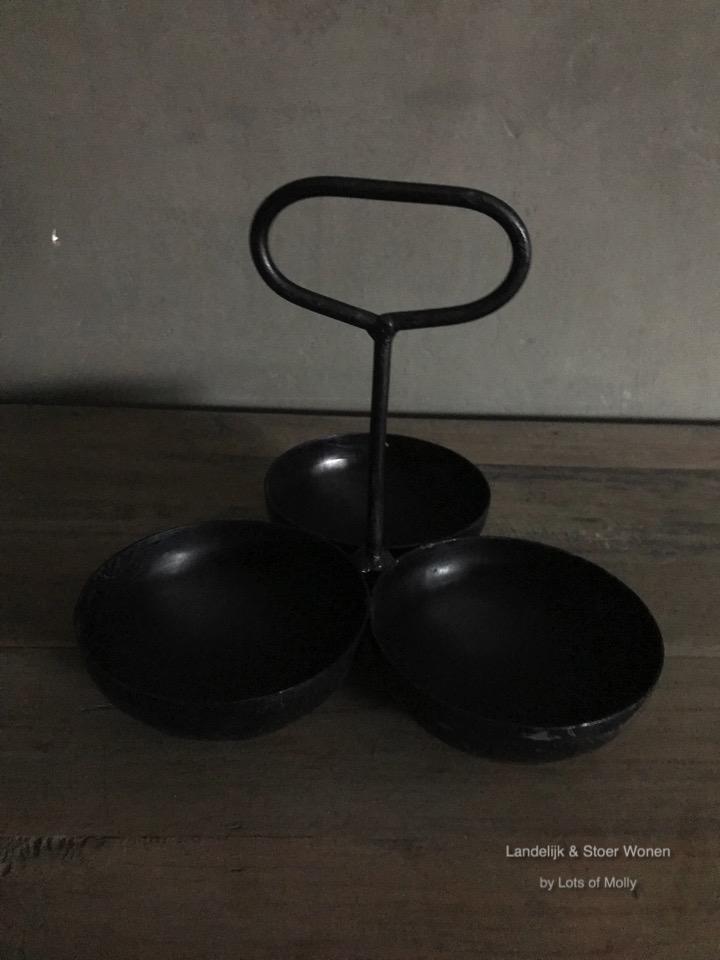 Metalen kaars-waxine houder 3-cup