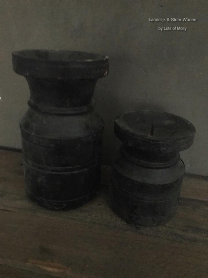 Kruik kandelaar black finish