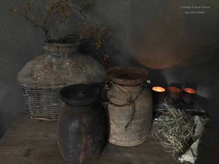 Houten Nepalese pot met deksel, Aura Peeperkorn