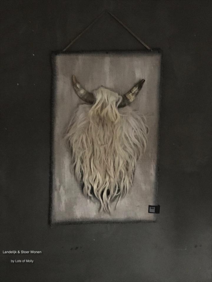 Kalkdoek met schapenwol hoorns #1