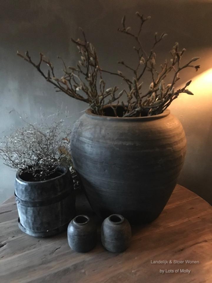 Terracotta pot grijs L