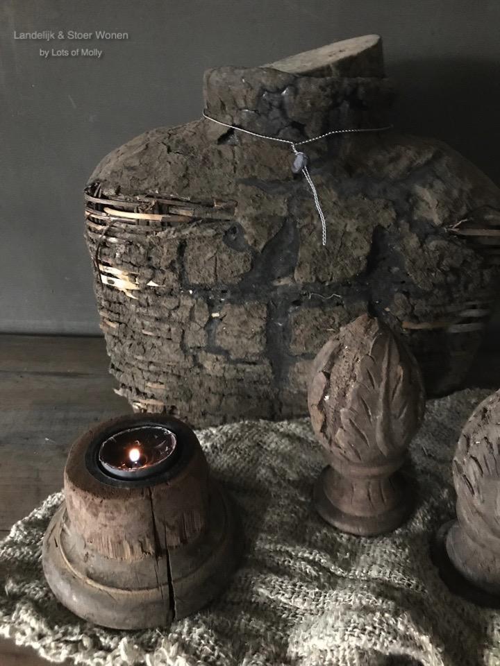 Oud houten waxine houder