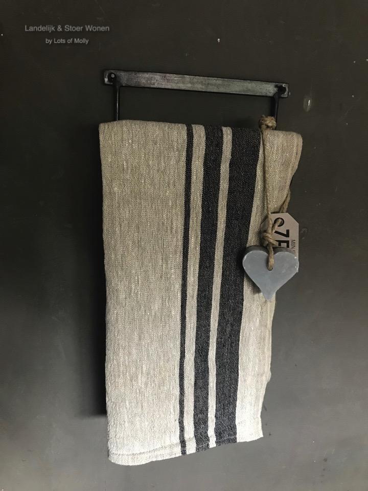Handdoekhouder metaal/hout