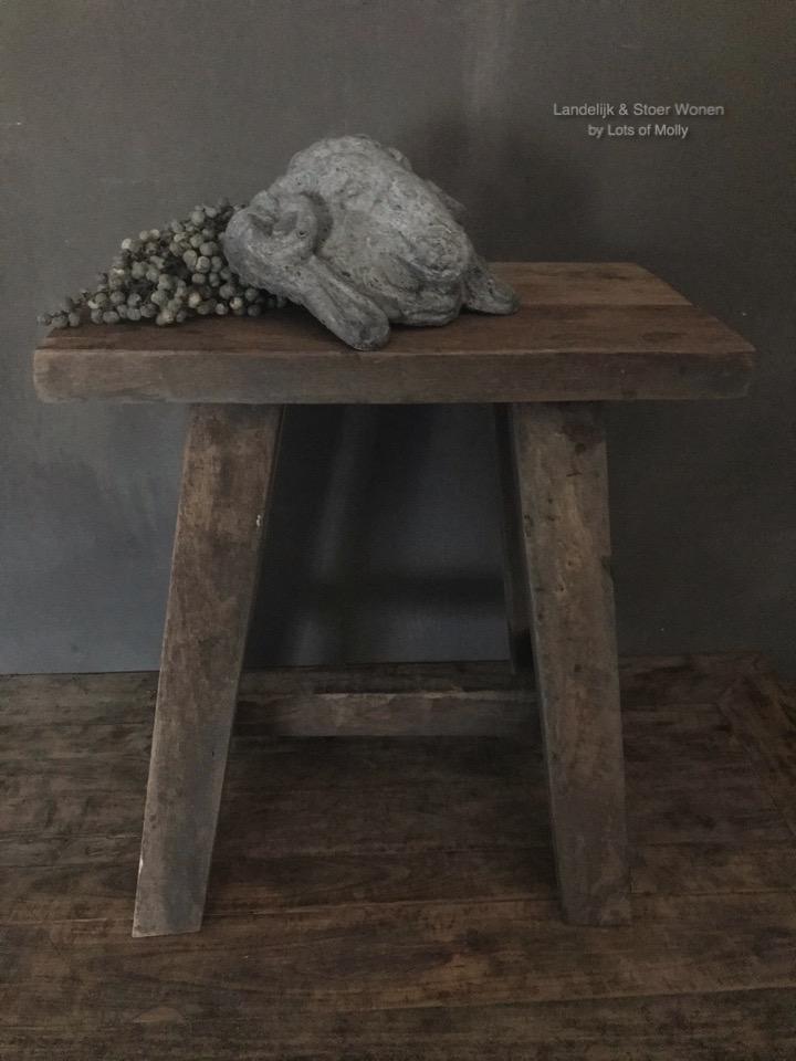 Aura's bankje/krukje hout van Aura Peeperkorn
