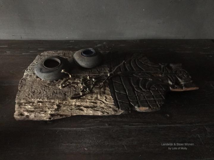Oude houten Toda muur ornament Aura Peeperkorn